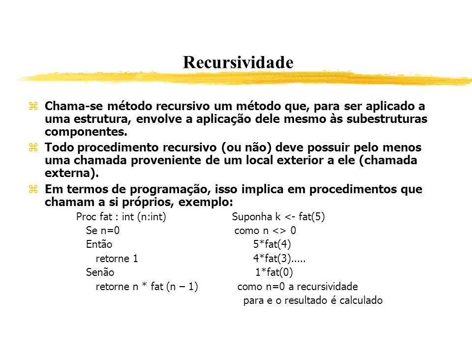 Chama-se método recursivo um método que, para ser aplicado a uma estrutura, envolve a aplicação dele mesmo às subestruturas componentes. Todo procedim
