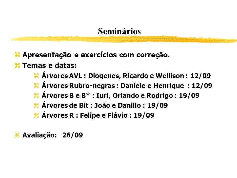 Seminários Apresentação e exercícios com correção. Temas e datas: Árvores AVL : Diogenes, Ricardo e Wellison : 12/09 Árvores Rubro-negras : Daniele e