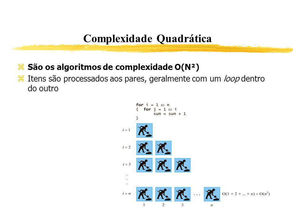 Complexidade Quadrática São os algoritmos de complexidade O(N²) Itens são processados aos pares, geralmente com um loop dentro do outro