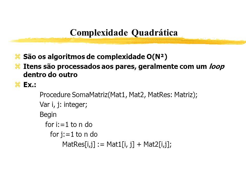 Complexidade Quadrática São os algoritmos de complexidade O(N²) Itens são processados aos pares, geralmente com um loop dentro do outro Ex.: Procedure