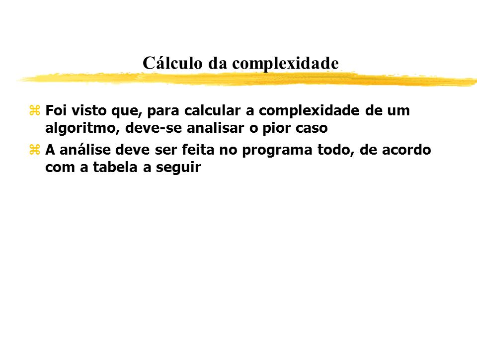 Cálculo da complexidade Foi visto que, para calcular a complexidade de um algoritmo, deve-se analisar o pior caso A análise deve ser feita no programa