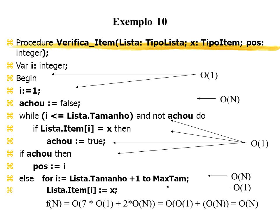 Exemplo 10 Procedure Verifica_Item(Lista: TipoLista; x: TipoItem; pos: integer); Var i: integer; Begin i:=1; achou := false; while (i <= Lista.Tamanho
