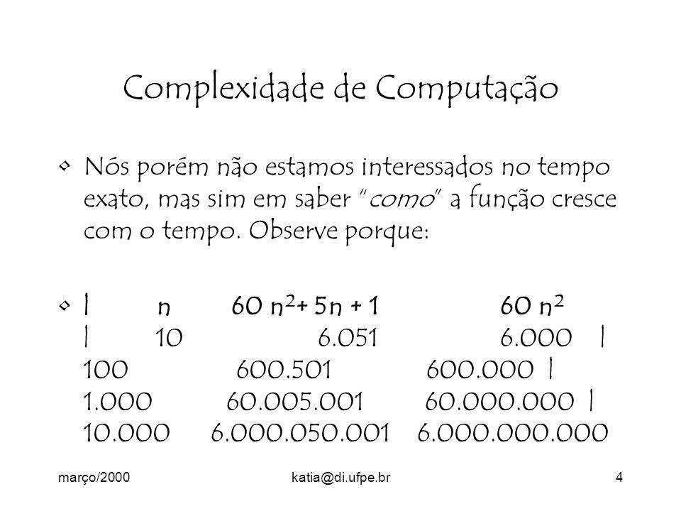 março/2000katia@di.ufpe.br4 Complexidade de Computação Nós porém não estamos interessados no tempo exato, mas sim em saber como a função cresce com o tempo.