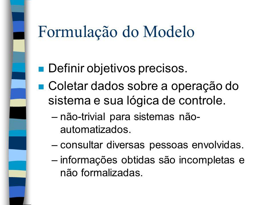 Formulação do Modelo n Definir objetivos precisos.