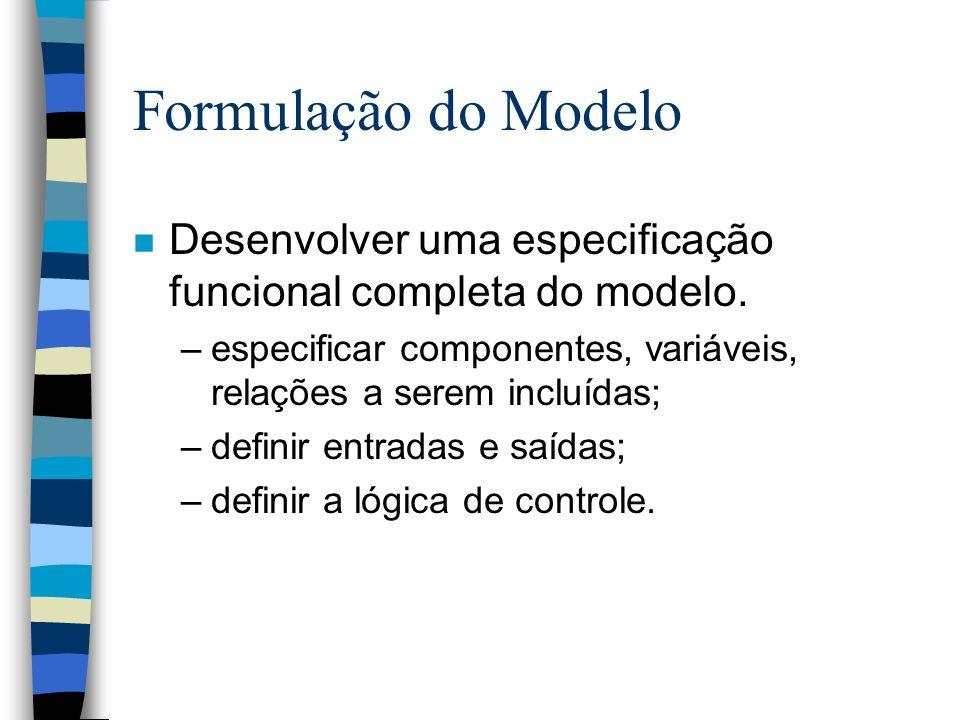 Formulação do Modelo n Desenvolver uma especificação funcional completa do modelo.
