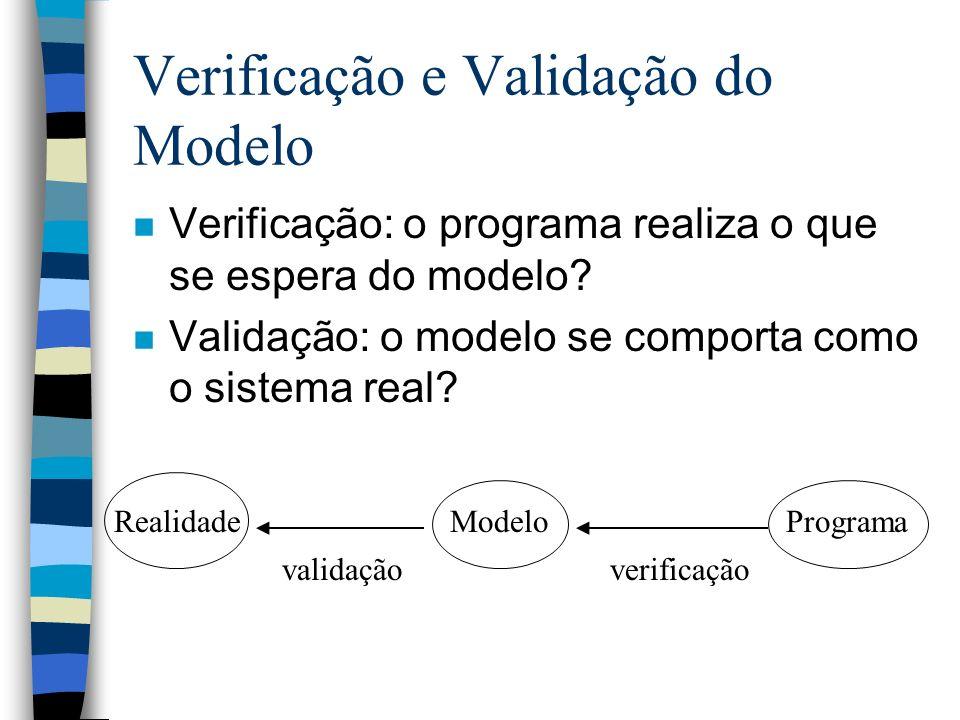 Verificação e Validação do Modelo n Verificação: o programa realiza o que se espera do modelo.
