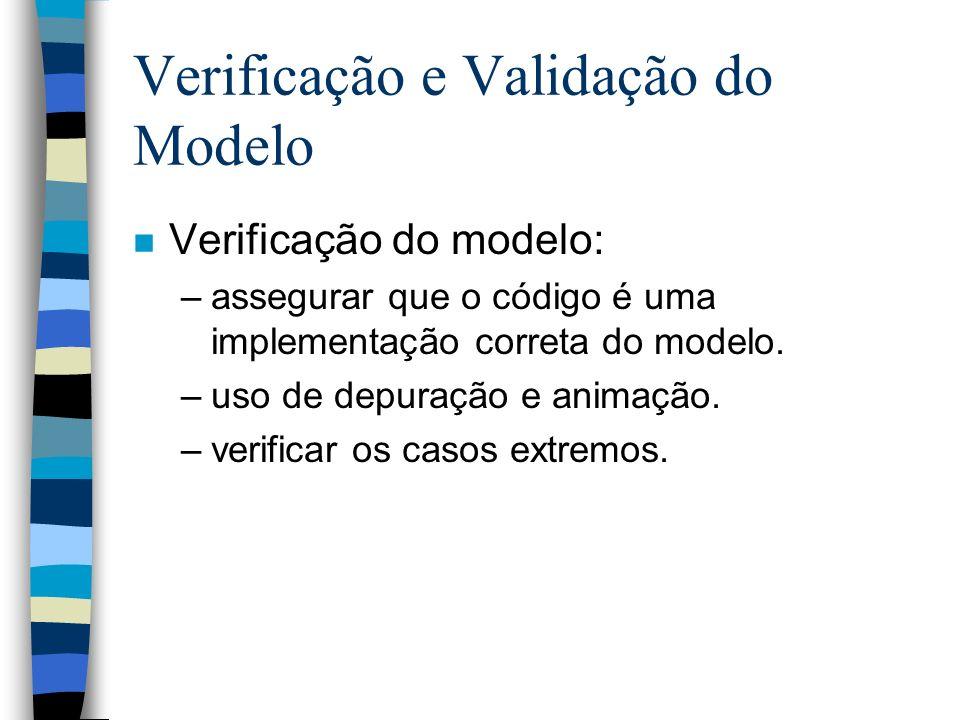 Verificação e Validação do Modelo n Verificação do modelo: –assegurar que o código é uma implementação correta do modelo.