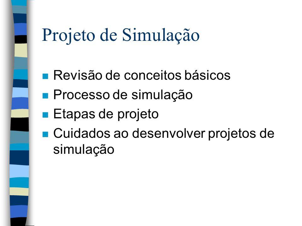 Projeto de Simulação n Revisão de conceitos básicos n Processo de simulação n Etapas de projeto n Cuidados ao desenvolver projetos de simulação