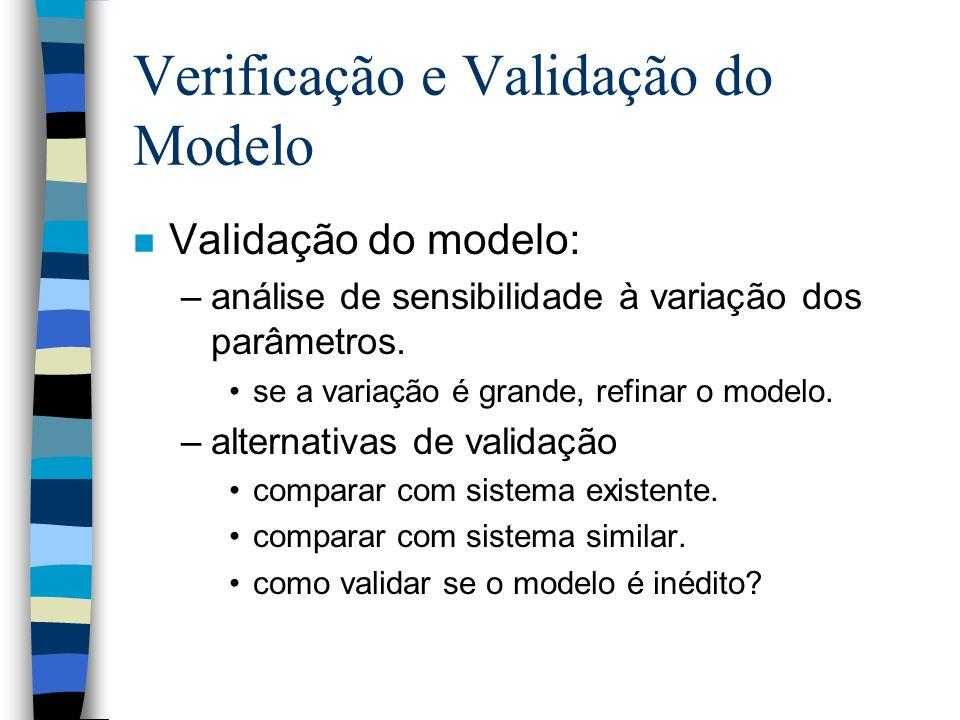Verificação e Validação do Modelo n Validação do modelo: –análise de sensibilidade à variação dos parâmetros.
