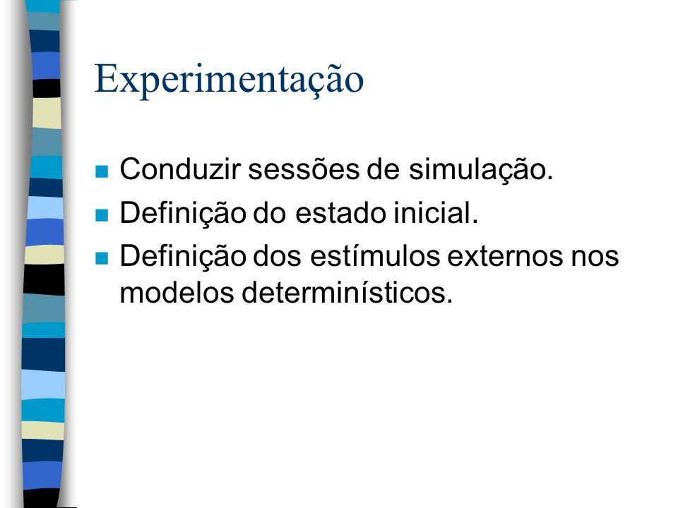 Experimentação n Conduzir sessões de simulação. n Definição do estado inicial.