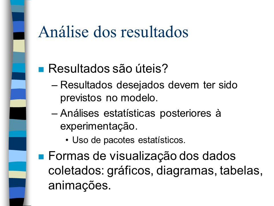 Análise dos resultados n Resultados são úteis.