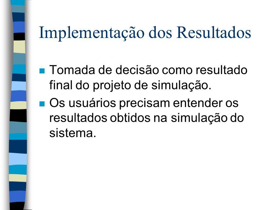 Implementação dos Resultados n Tomada de decisão como resultado final do projeto de simulação.