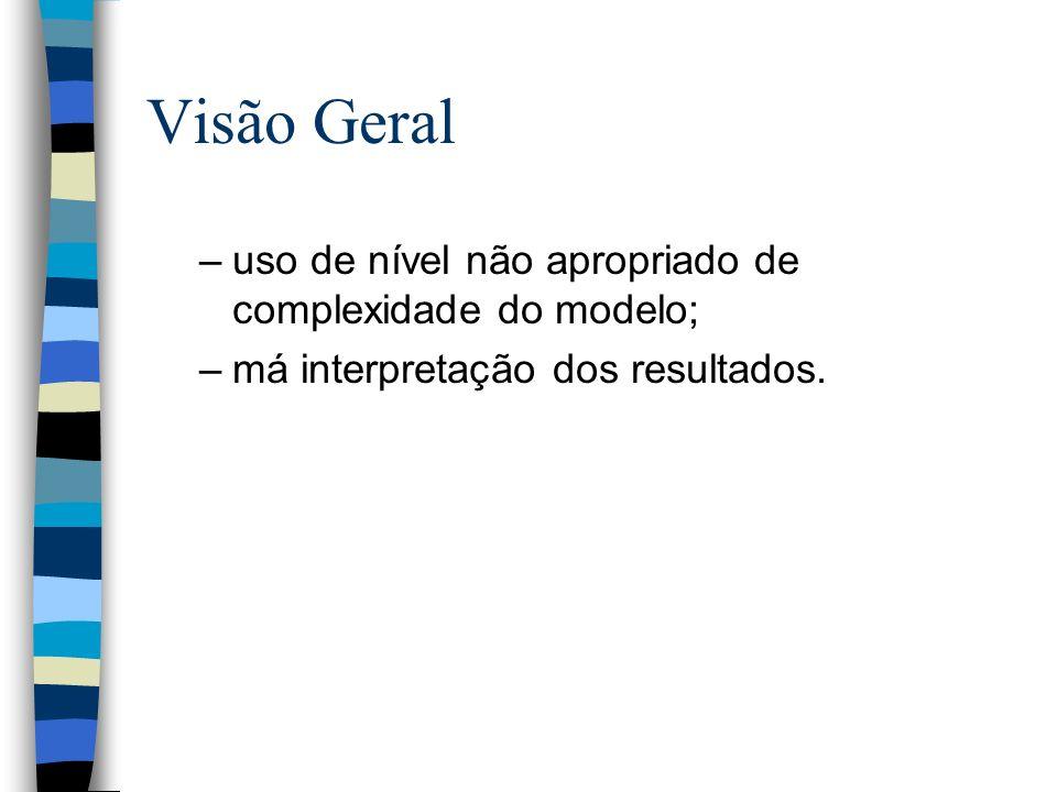 Visão Geral –uso de nível não apropriado de complexidade do modelo; –má interpretação dos resultados.
