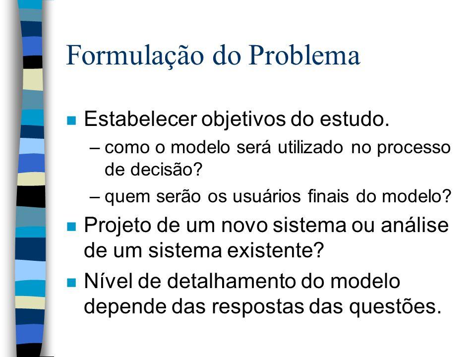 Formulação do Problema n Estabelecer objetivos do estudo.