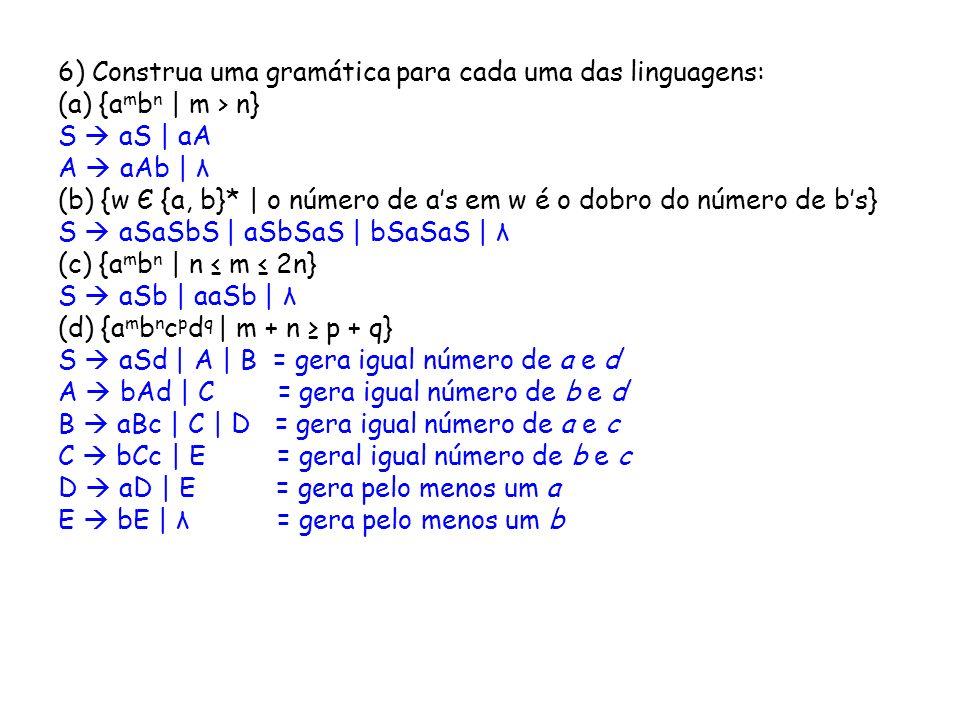 6) Construa uma gramática para cada uma das linguagens: (a) {a m b n | m > n} S aS | aA A aAb | λ (b) {w Є {a, b}* | o número de as em w é o dobro do