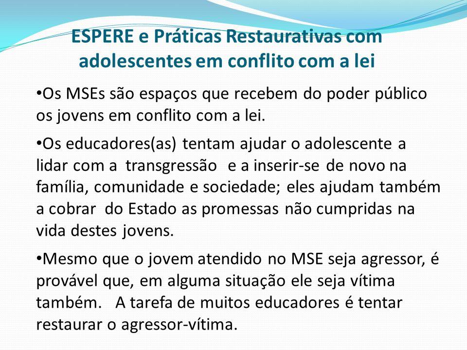 Os MSEs são espaços que recebem do poder público os jovens em conflito com a lei. Os educadores(as) tentam ajudar o adolescente a lidar com a transgre