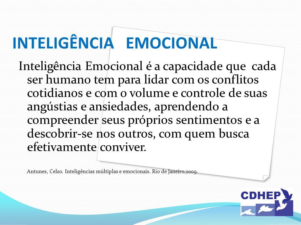 INTELIGÊNCIA EMOCIONAL Inteligência Emocional é a capacidade que cada ser humano tem para lidar com os conflitos cotidianos e com o volume e controle