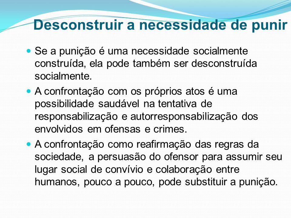 Desconstruir a necessidade de punir Se a punição é uma necessidade socialmente construída, ela pode também ser desconstruída socialmente. A confrontaç
