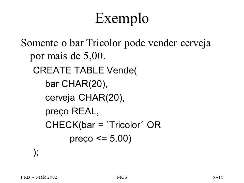 FRB - Maio 2002MCS9–10 Exemplo Somente o bar Tricolor pode vender cerveja por mais de 5,00.
