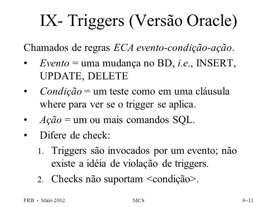 FRB - Maio 2002MCS9–11 IX- Triggers (Versão Oracle) Chamados de regras ECA evento-condição-ação.