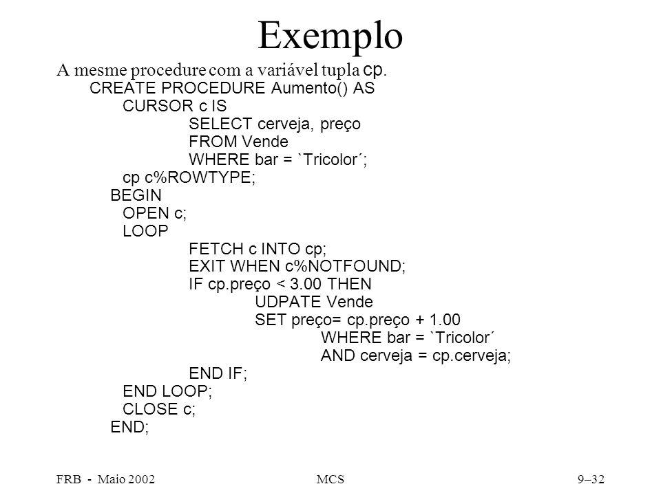 FRB - Maio 2002MCS9–32 Exemplo A mesme procedure com a variável tupla cp.