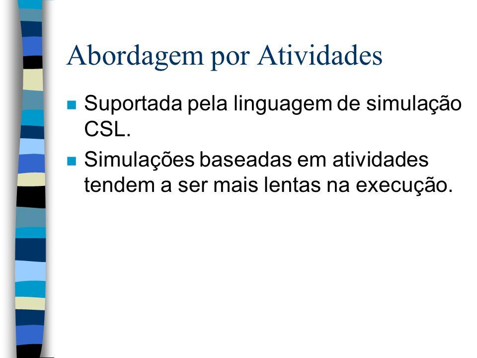 Abordagem por Atividades n Suportada pela linguagem de simulação CSL.