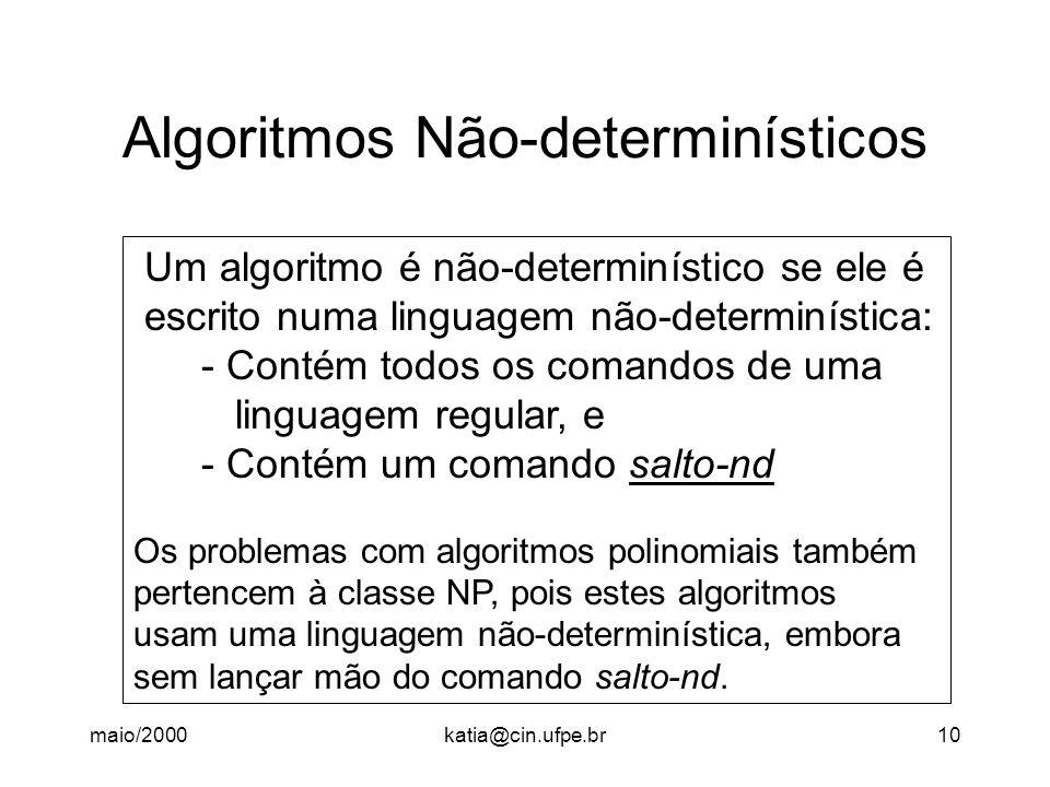 maio/2000katia@cin.ufpe.br10 Algoritmos Não-determinísticos Um algoritmo é não-determinístico se ele é escrito numa linguagem não-determinística: - Co