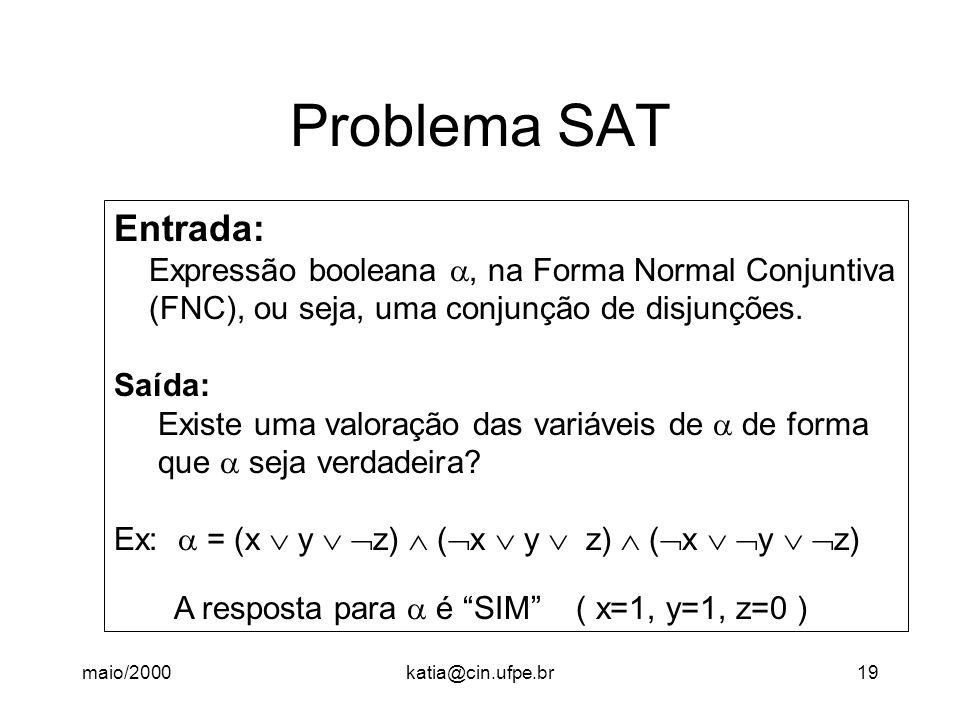 maio/2000katia@cin.ufpe.br19 Problema SAT Entrada: Expressão booleana, na Forma Normal Conjuntiva (FNC), ou seja, uma conjunção de disjunções. Saída: