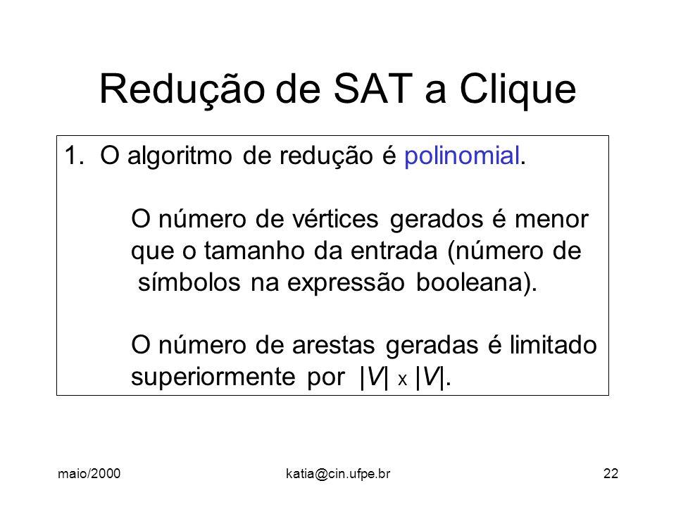 maio/2000katia@cin.ufpe.br22 Redução de SAT a Clique 1. O algoritmo de redução é polinomial. O número de vértices gerados é menor que o tamanho da ent