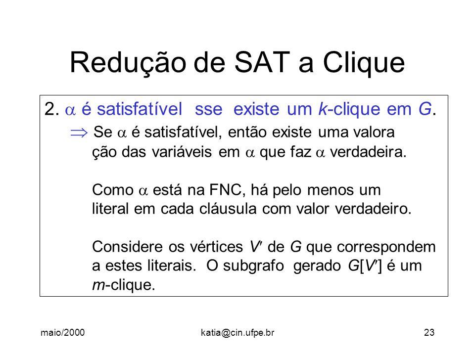 maio/2000katia@cin.ufpe.br23 Redução de SAT a Clique 2. é satisfatível sse existe um k-clique em G. Se é satisfatível, então existe uma valora ção das