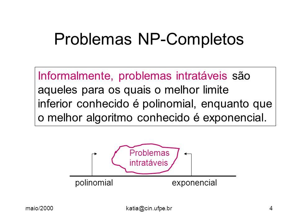 maio/2000katia@cin.ufpe.br4 Problemas NP-Completos Informalmente, problemas intratáveis são aqueles para os quais o melhor limite inferior conhecido é