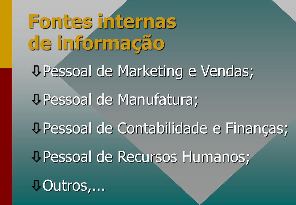 Fontes internas de informação ò Pessoal de Marketing e Vendas; ò Pessoal de Manufatura; ò Pessoal de Contabilidade e Finanças; ò Pessoal de Recursos Humanos; ò Outros,...