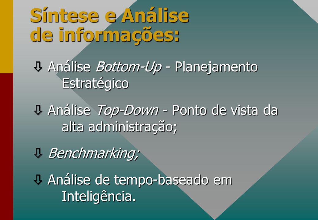Síntese e Análise de informações: ò Análise Bottom-Up - Planejamento Estratégico ò Análise Top-Down - Ponto de vista da alta administração; ò Benchmarking; ò Análise de tempo-baseado em Inteligência.