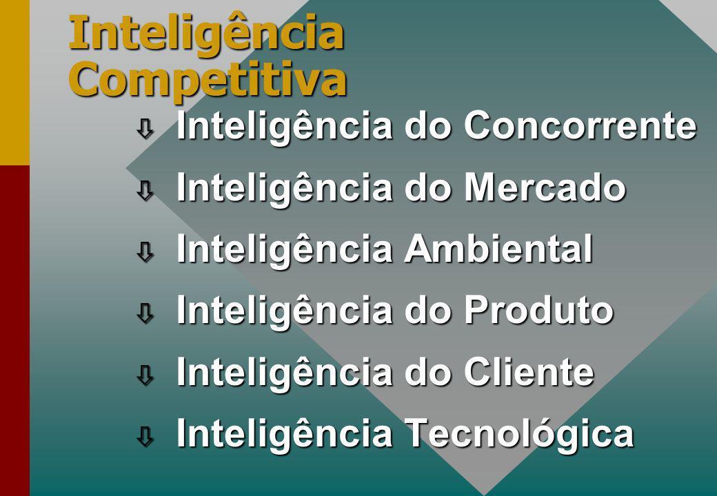 Inteligência do Concorrente Inteligência do Concorrente Inteligência do Mercado Inteligência do Mercado Inteligência Ambiental Inteligência Ambiental ò Inteligência do Produto ò Inteligência do Cliente ò Inteligência Tecnológica