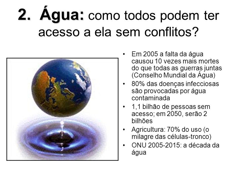 2. Água: 2. Água: como todos podem ter acesso a ela sem conflitos? Em 2005 a falta da água causou 10 vezes mais mortes do que todas as guerras juntas