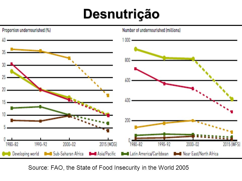Source: FAO, the State of Food Insecurity in the World 2005 Desnutrição