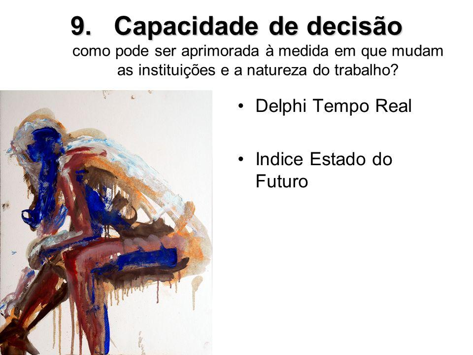 9.Capacidade de decisão 9.Capacidade de decisão como pode ser aprimorada à medida em que mudam as instituições e a natureza do trabalho? Delphi Tempo