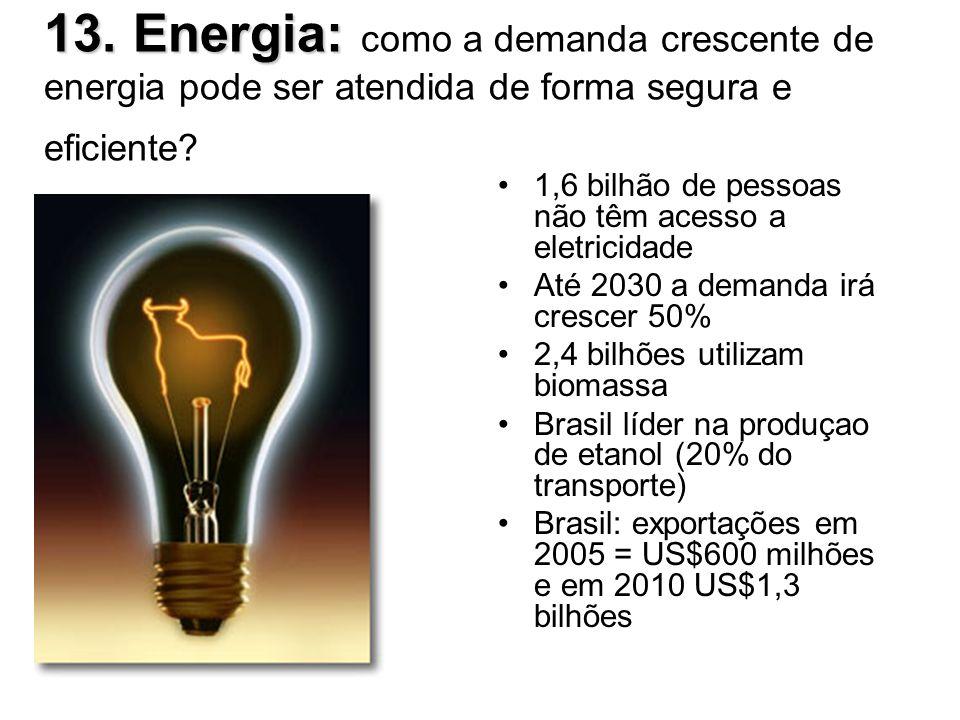 13. Energia: 13. Energia: como a demanda crescente de energia pode ser atendida de forma segura e eficiente? 1,6 bilhão de pessoas não têm acesso a el