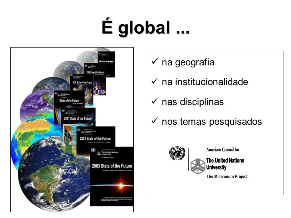 É global... na geografia na institucionalidade nas disciplinas nos temas pesquisados
