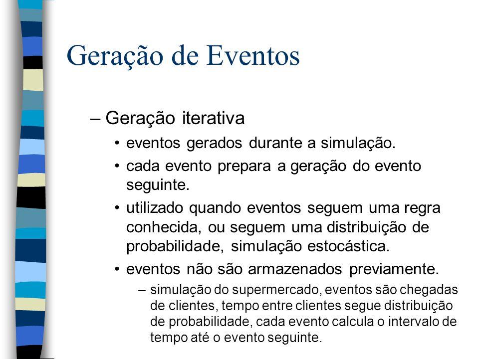 Geração de Eventos –Geração iterativa eventos gerados durante a simulação. cada evento prepara a geração do evento seguinte. utilizado quando eventos