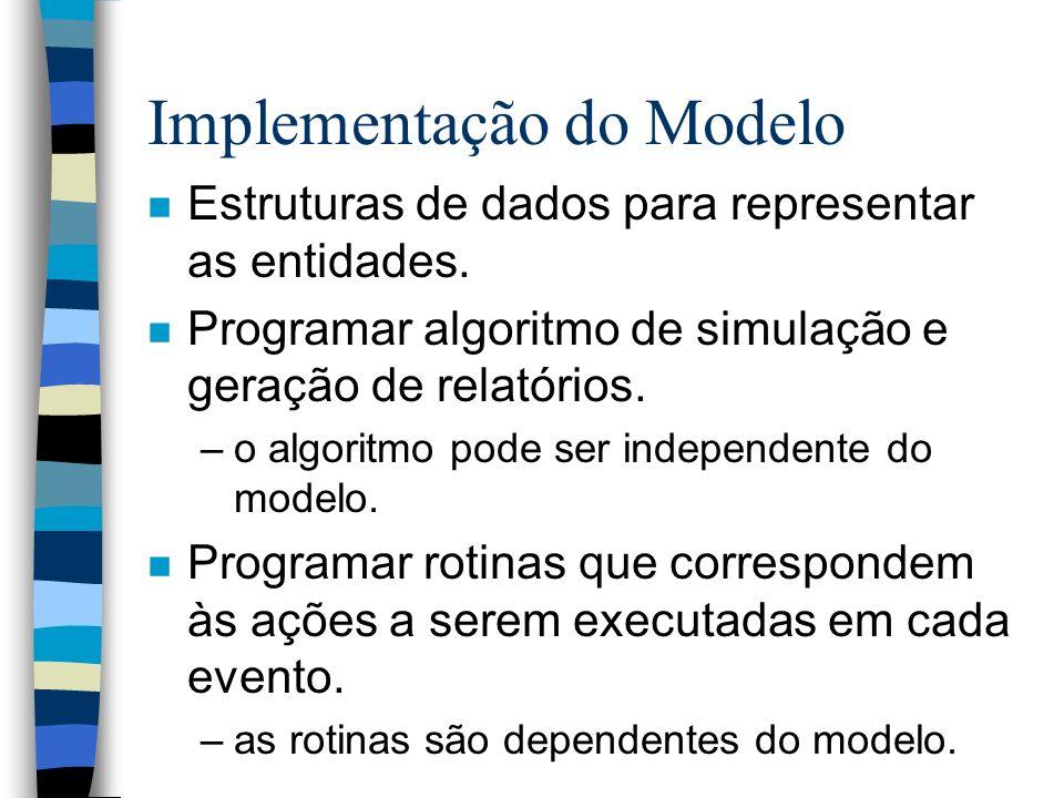 Implementação do Modelo n Estruturas de dados para representar as entidades. n Programar algoritmo de simulação e geração de relatórios. –o algoritmo