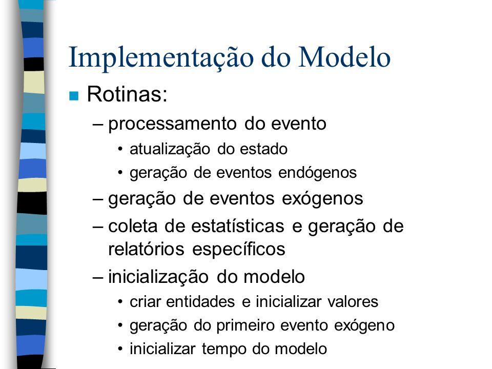 Implementação do Modelo n Rotinas: –processamento do evento atualização do estado geração de eventos endógenos –geração de eventos exógenos –coleta de