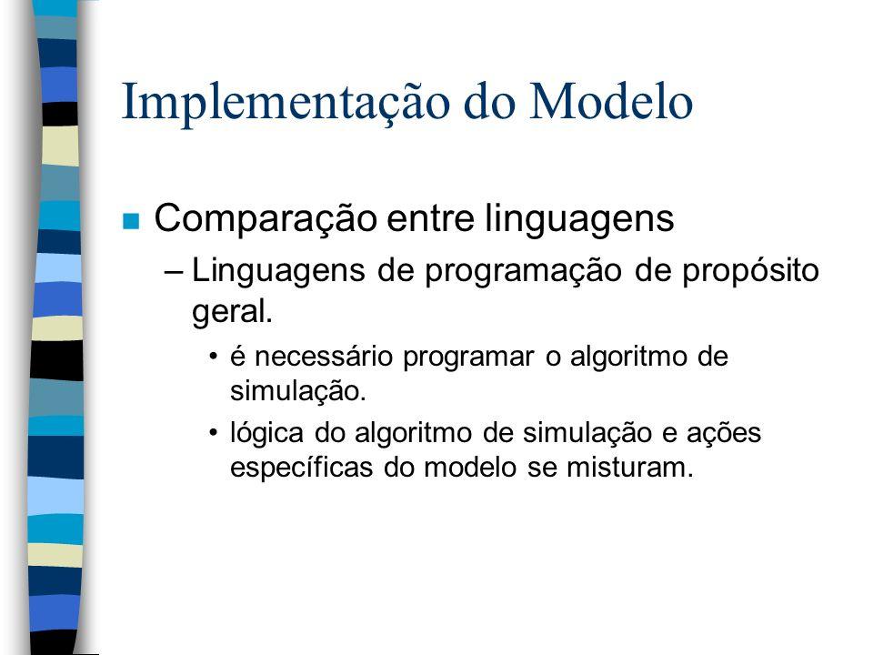 Implementação do Modelo n Comparação entre linguagens –Linguagens de programação de propósito geral. é necessário programar o algoritmo de simulação.