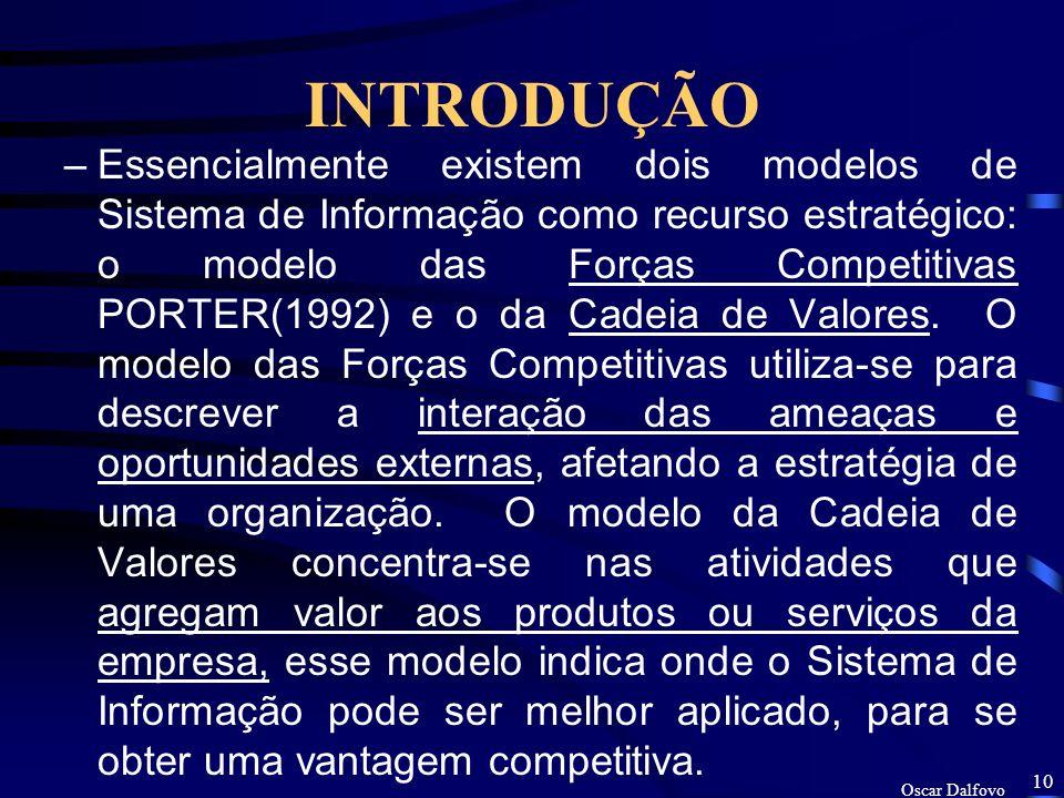 Oscar Dalfovo 9 INTRODUÇÃO De acordo com RODRIGUES (1996), sem se preocupar com o histórico da evolução dos Sistemas de Informação, pode-se dizer que, as funções administrativas, mercê de suas características próprias, foram sendo tratadas de forma individualizadas, resultando na criação de vários sistemas para ajudarem os executivos, nos vários níveis hierárquicos, a tomarem decisões, tais como: SIG - Sistemas de Informações Gerenciais; EIS - Sistemas de Informações Executivas; SSTD - Sistemas de Suporte à Tomadas de Decisões; SSTO - Sistemas de Suporte às Transações Operacionais; SSTDG - Sistemas de Suporte à Tomada de Decisão por Grupos.