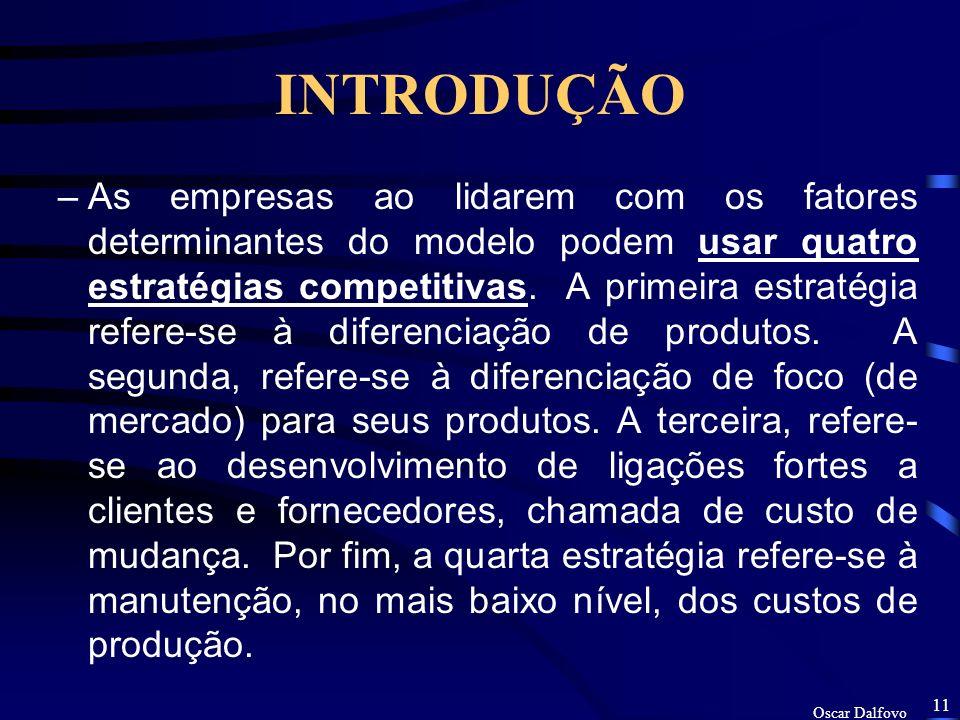 Oscar Dalfovo 10 INTRODUÇÃO –Essencialmente existem dois modelos de Sistema de Informação como recurso estratégico: o modelo das Forças Competitivas PORTER(1992) e o da Cadeia de Valores.