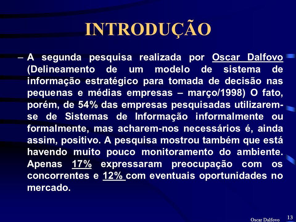 Oscar Dalfovo 12 INTRODUÇÃO –Duas pesquisa realizadas pela Universidade Regional de Blumenau (FURB) na própria cidade.