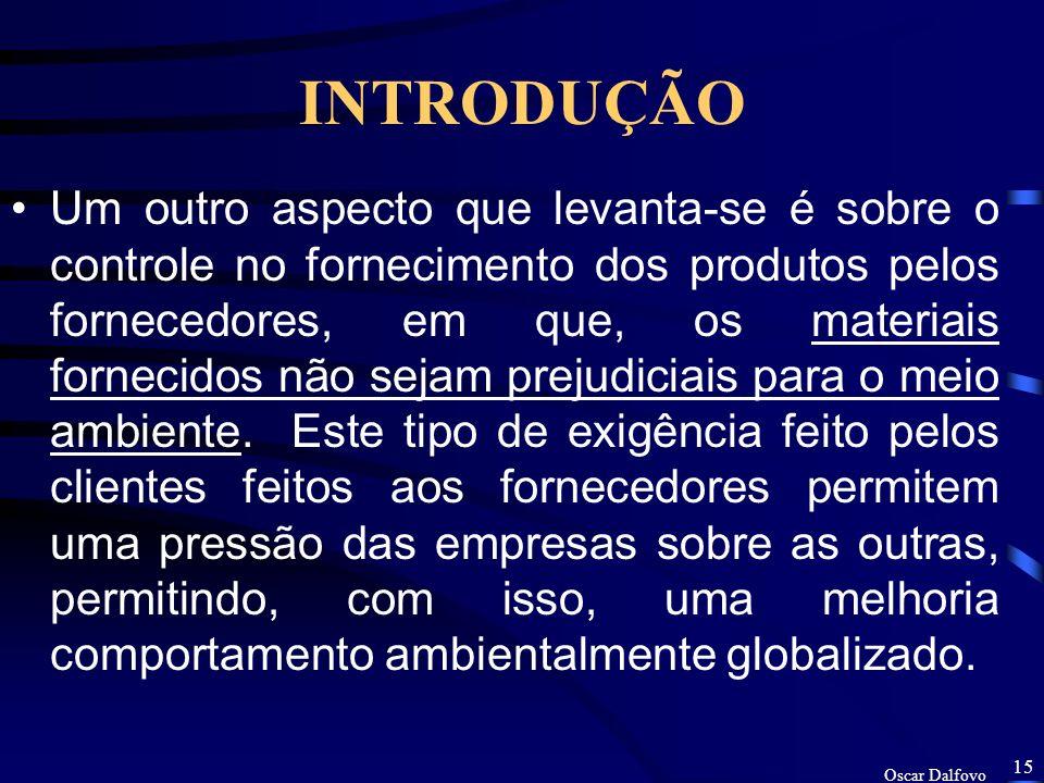 Oscar Dalfovo 14 INTRODUÇÃO –Como exigência de mercado para as pequenas e médias empresa, existe um aspecto que deverá de ser introduzido, o cliente e
