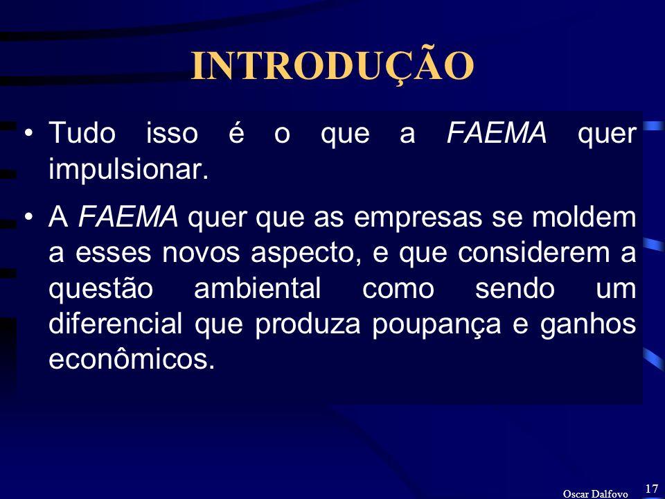 Oscar Dalfovo 16 INTRODUÇÃO Além de mudanças e investimentos tecnológicos, as empresas precisam investir num trabalho de educação ambiental e treiname
