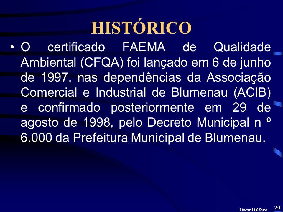 Oscar Dalfovo 19 OBJETIVOS Informar como a Prefeitura de Blumenau, por meio da FAEMA atribuiu o CFQA. Estudar se este programa de implantação do CFQA