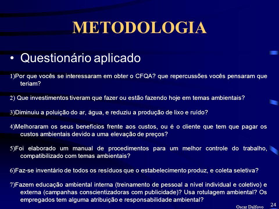 Oscar Dalfovo 23 METODOLOGIA O presente trabalho é um estudo estatístico descritivo e dedutivo sobre as empresas auditadas que obtiveram o CFQA, e a algumas que não o obtiveram.